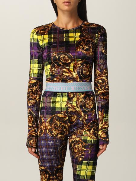 Versace Jeans Couture body with check and baroque print