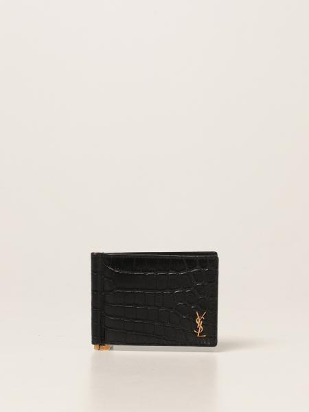 Saint Laurent men: Saint Laurent wallet in crocodile print leather