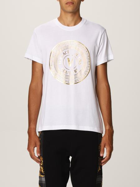Versace Jeans Couture uomo: T-shirt Versace Jeans Couture in cotone con stampa laminata