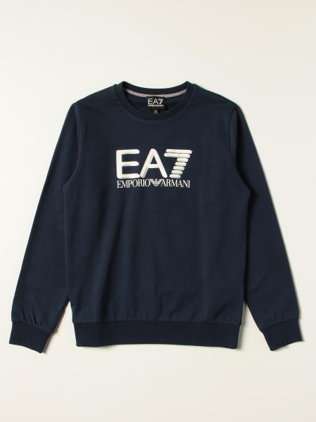 Felpa EA7 in cotone con logo glitter a contrasto