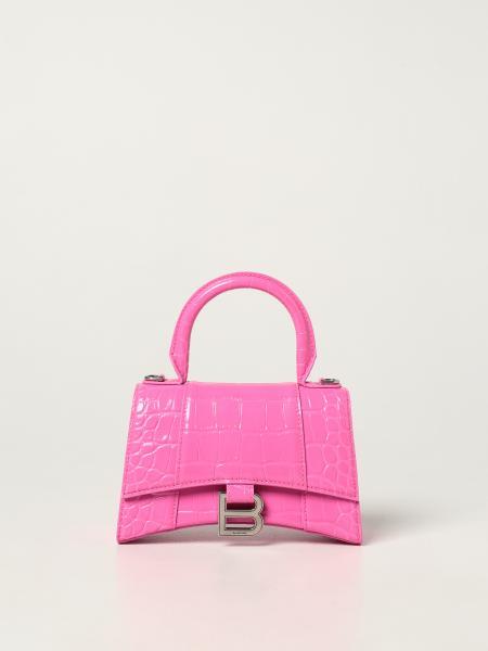 Balenciaga women: Hourglass top handle Xs Balenciaga bag in crocodile print leather