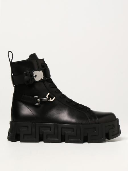 Greca Labyrinth Versace leather ankle boots