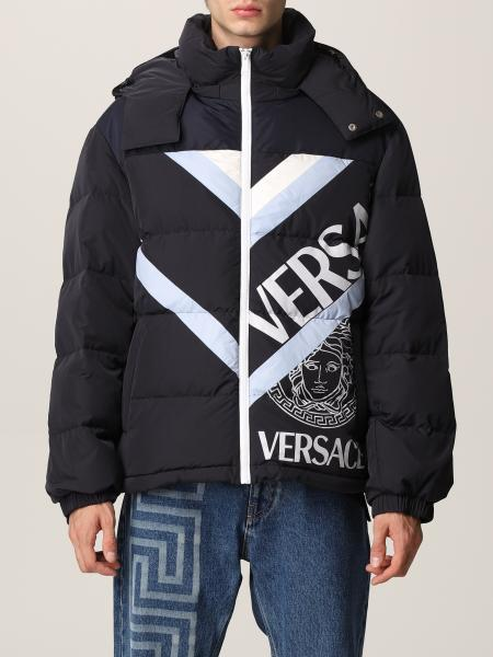 Versace men: Versace down jacket in technical fabric with Medusa