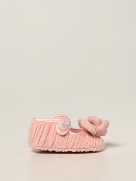 Monnalisa first steps shoes in pleated velvet