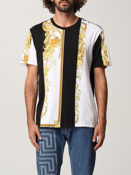 Versace men: Versace cotton t-shirt with baroque pattern