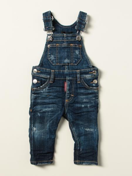 Salopette di jeans Dsquared2 Junior con rotture