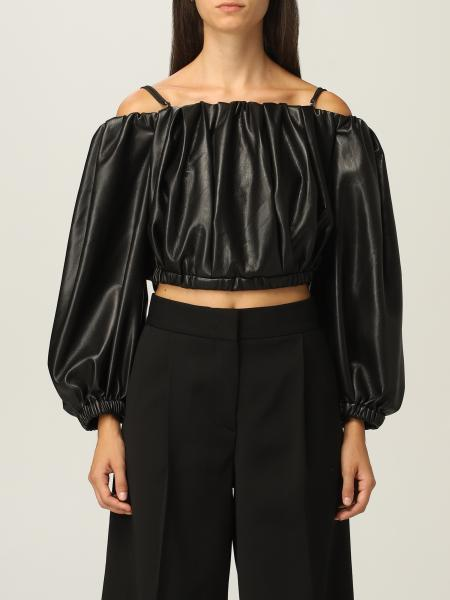 Top cropped Msgm in pelle ecologica