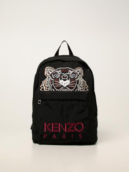 Kenzo men: Kenzo backpack in technical canvas with embroidered tiger