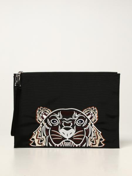 Kenzo men: Kenzo pouch in technical canvas with embroidered tiger