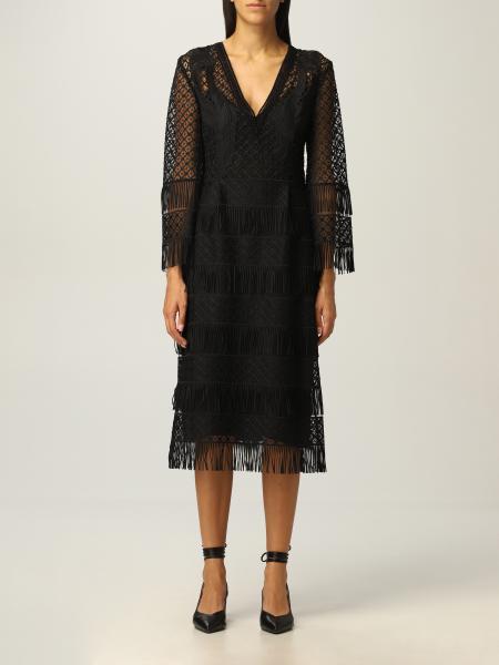 Alberta Ferretti midi dress with fringes