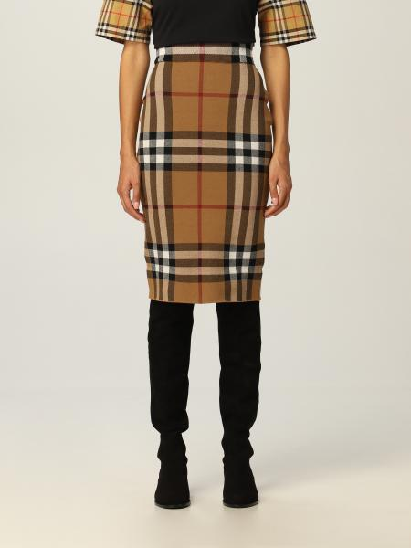 Burberry silk blend skirt with check pattern