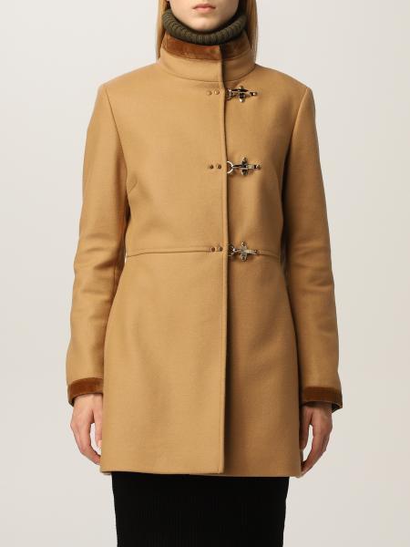 Cappotto Virginia Fay in misto lana e pelliccia di volpe