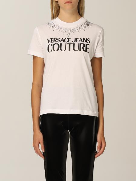 Versace Jeans Couture women: Versace Jeans Couture cotton t-shirt with rhinestones