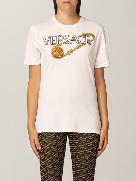 T-shirt Versace in jersey di cotone con logo ricamato