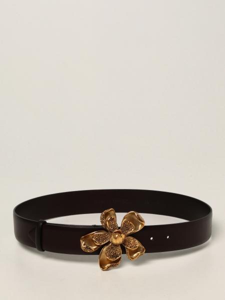 Alberta Ferretti donna: Cintura Alberta Ferretti in pelle con maxi fibbia a fiore