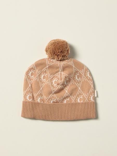Cappello a berretto Chloé in cotone e lana con motivo C