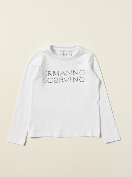 T-shirt Ermanno Scervino in cotone con logo di strass