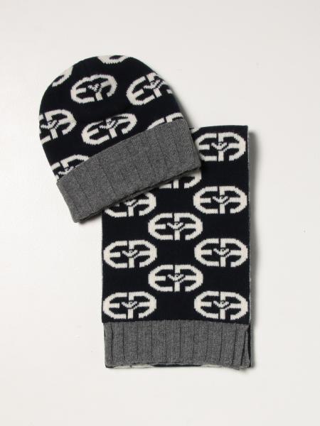 Set cappello + sciarpa Emporio Armani in lana con logo all over
