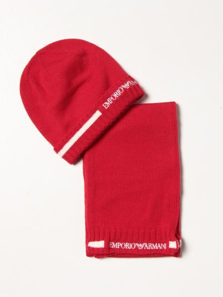 Set cappello + sciarpa Emporio Armani in lana con logo intarsiato