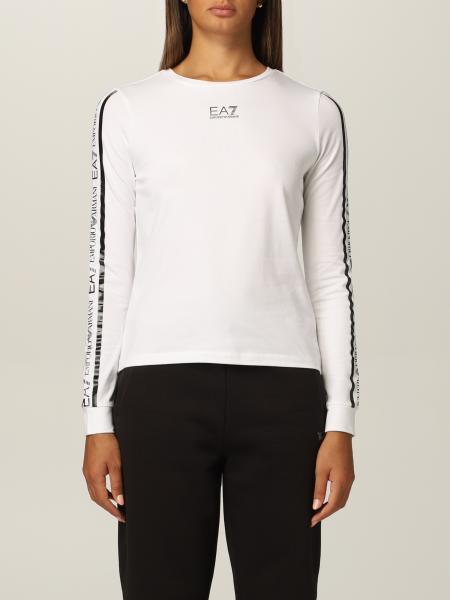 T-shirt EA7 in jersey di cotone con logo a contrasto