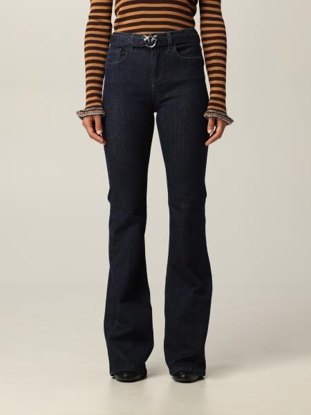 Jeans a 5 tasche Pinko con cintura e fibbia Love Birds