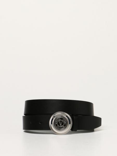 Versace Jeans Couture men: Versace Jeans Couture leather belt with V-Emblem logo