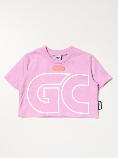 T-shirt cropped Gcds con big logo
