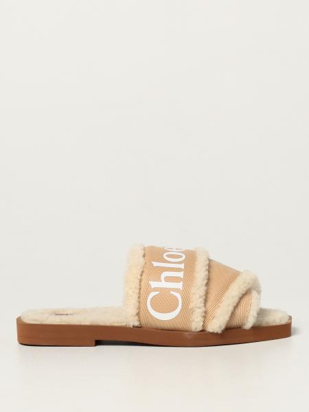 Woody Chloé sandal in fabric and fur