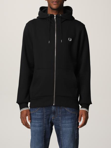 Hooded zip through sweatshirt, felpa fred perry con zip e cappuccio
