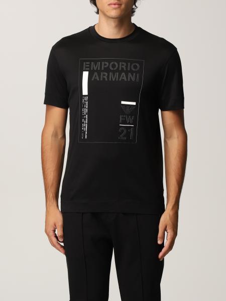 T-shirt Emporio Armani in misto Tencel con logo e stampa
