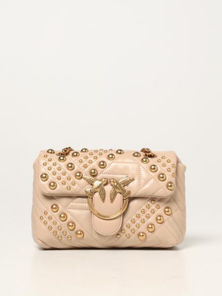 Borsa Love Mini Puff Woven Pinko in nappa trapuntata con borchie