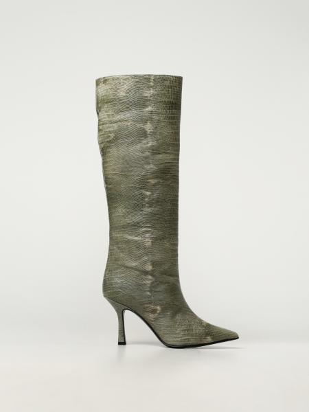 Aldo Castagna women: Aldo Castagna leather boots with tejus print
