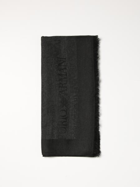 Stola Emporio Armani in misto cotone con logo all over