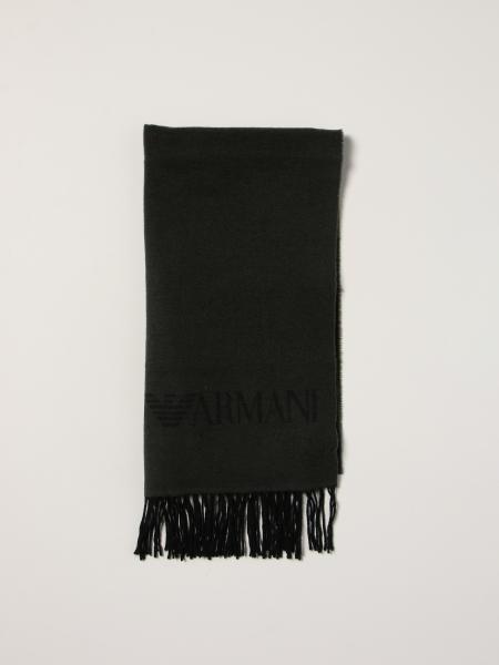 Sciarpa Emporio Armani in lana vergine con logo intarsiato