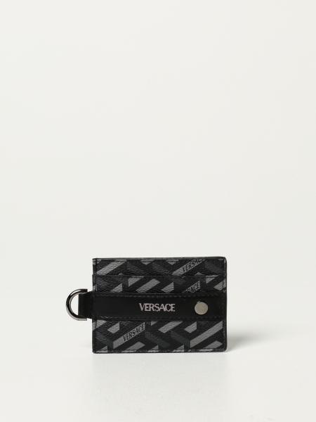 Porta carte di credito La Greca Signature Versace in tela