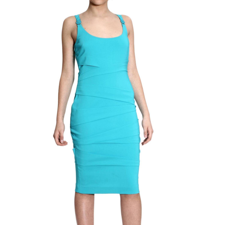 Dress Versace: SLEEVELESS WITH DRAPPEGGI turquoise 4