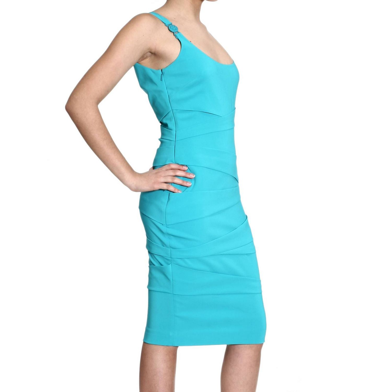 Dress Versace: SLEEVELESS WITH DRAPPEGGI turquoise 3