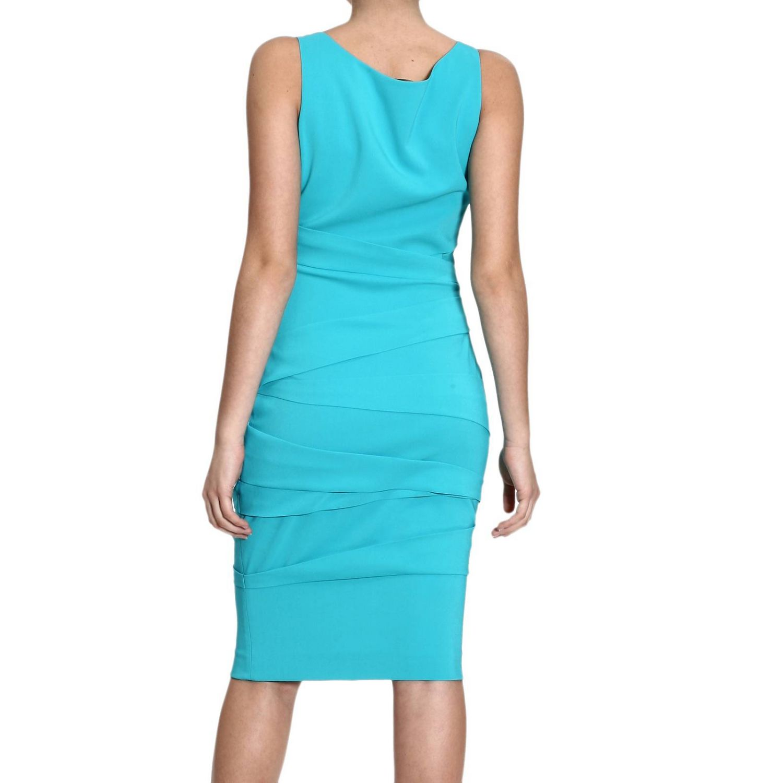 Dress Versace: SLEEVELESS WITH DRAPPEGGI turquoise 1
