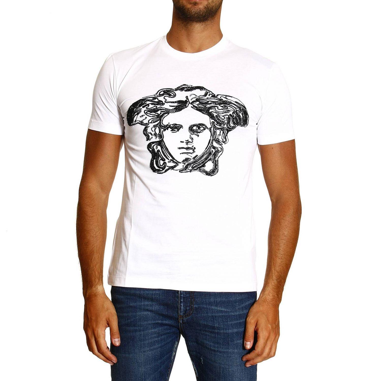 T-shirt Versace: MEZZA MANICA GIROCOLLO RICAMO MEDUSA bianco 1