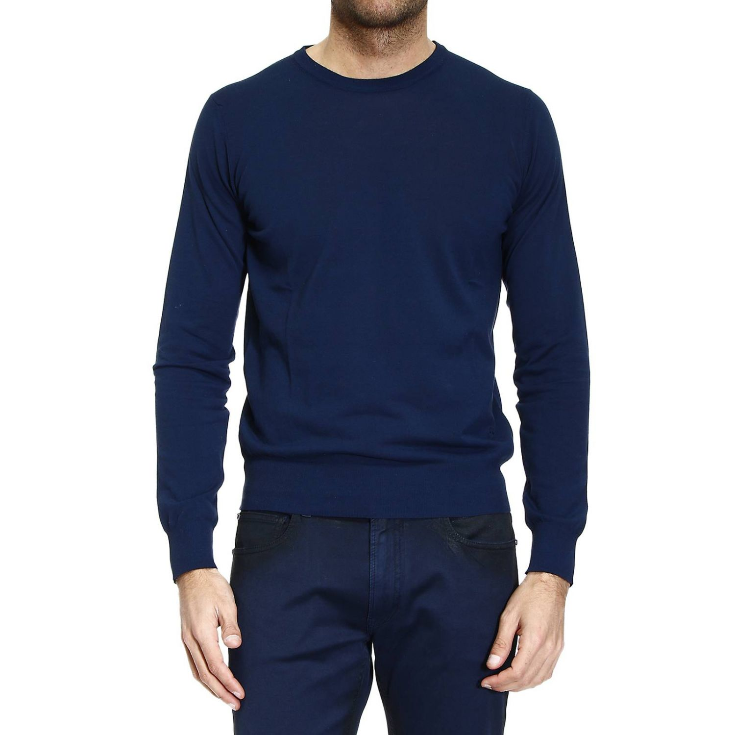 knit crew-neck cotton garment dyed or yarn dyed capo finesse 18 blue 1