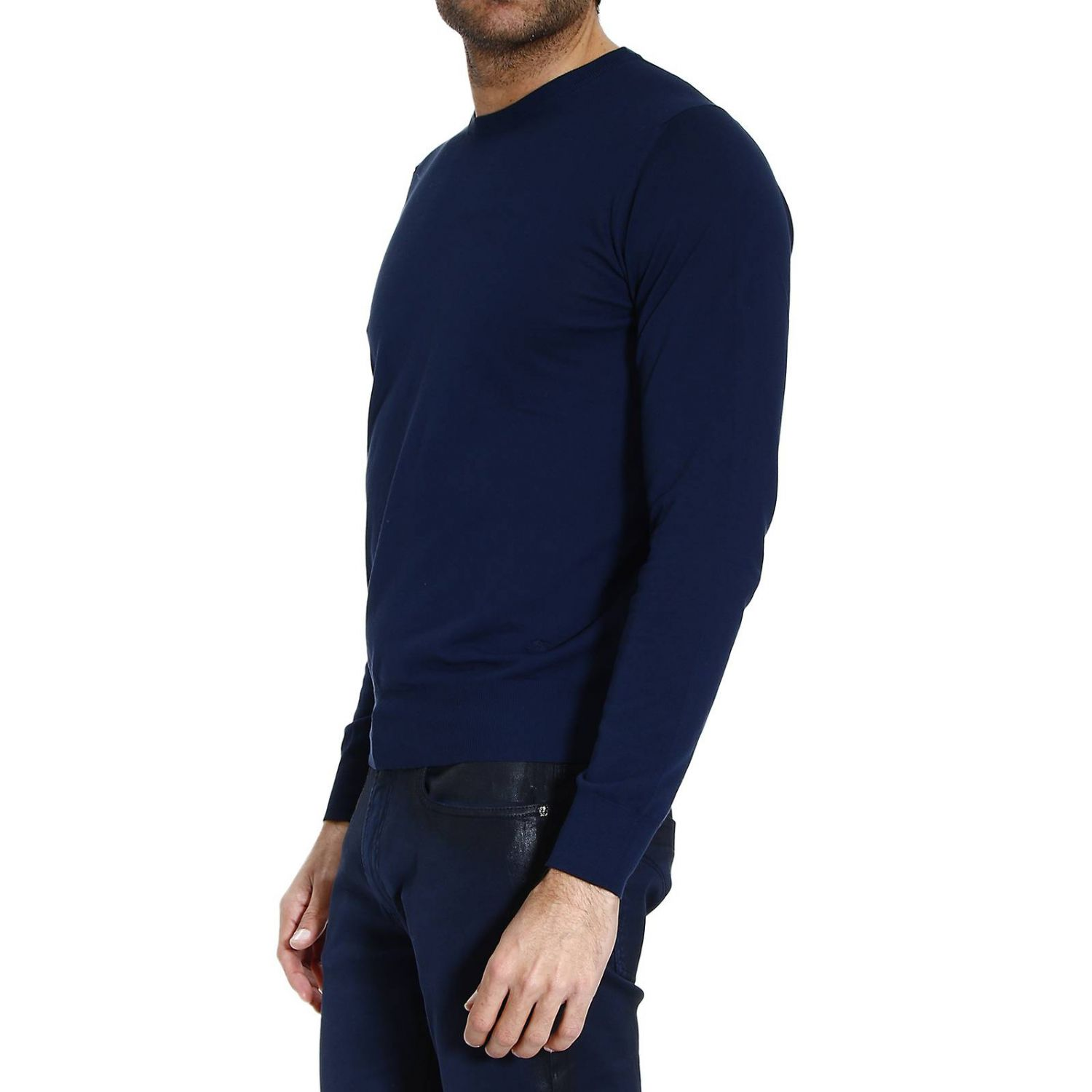 knit crew-neck cotton garment dyed or yarn dyed capo finesse 18 blue 2