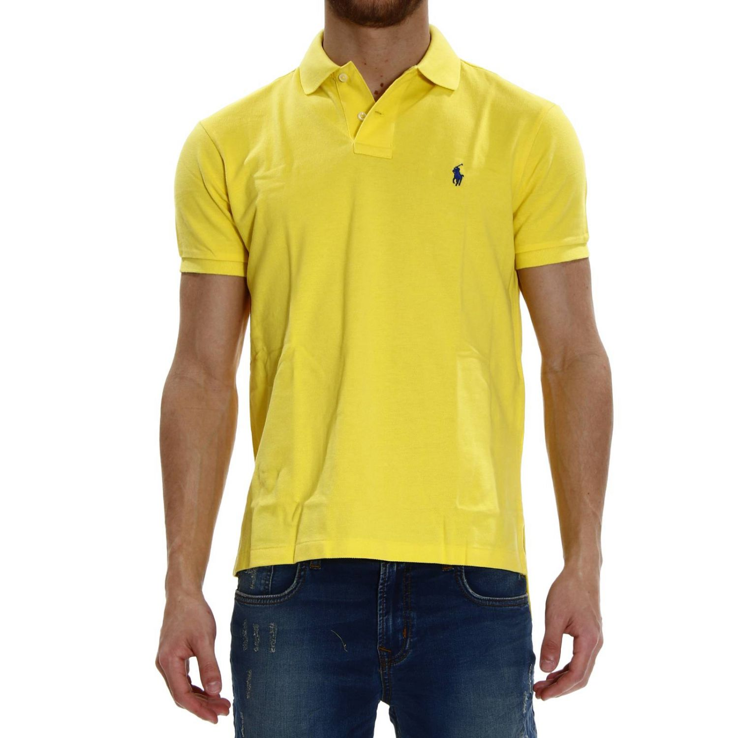 t-shirt polo half sleeve smash custom fit yellow 1