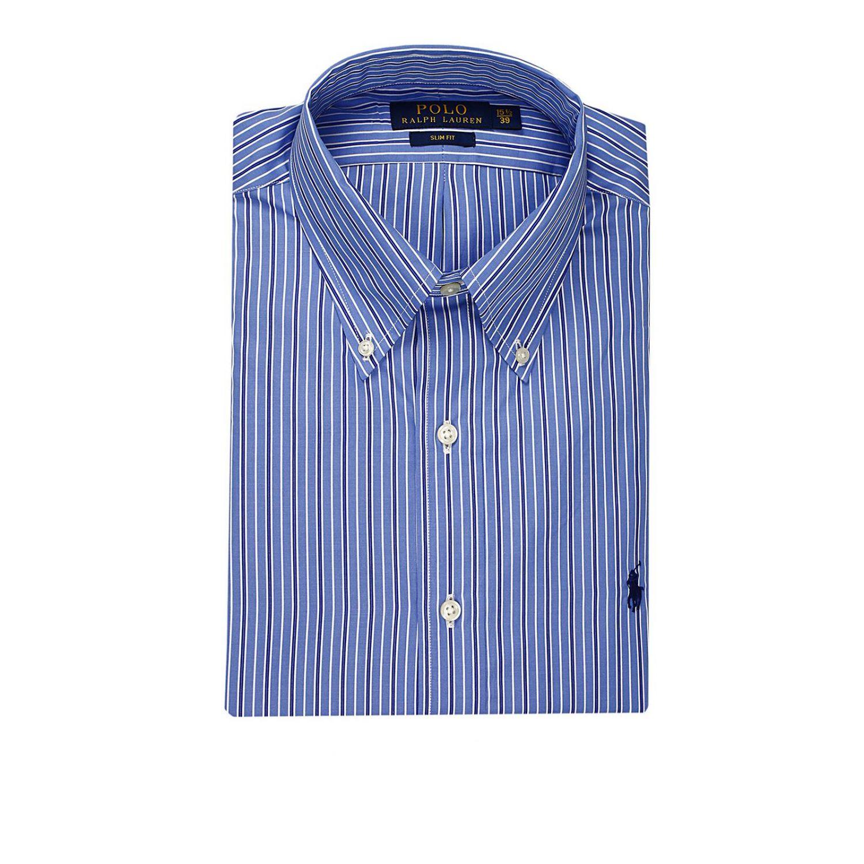 shirt botton down popeline slim fit multi row gnawed blue 1