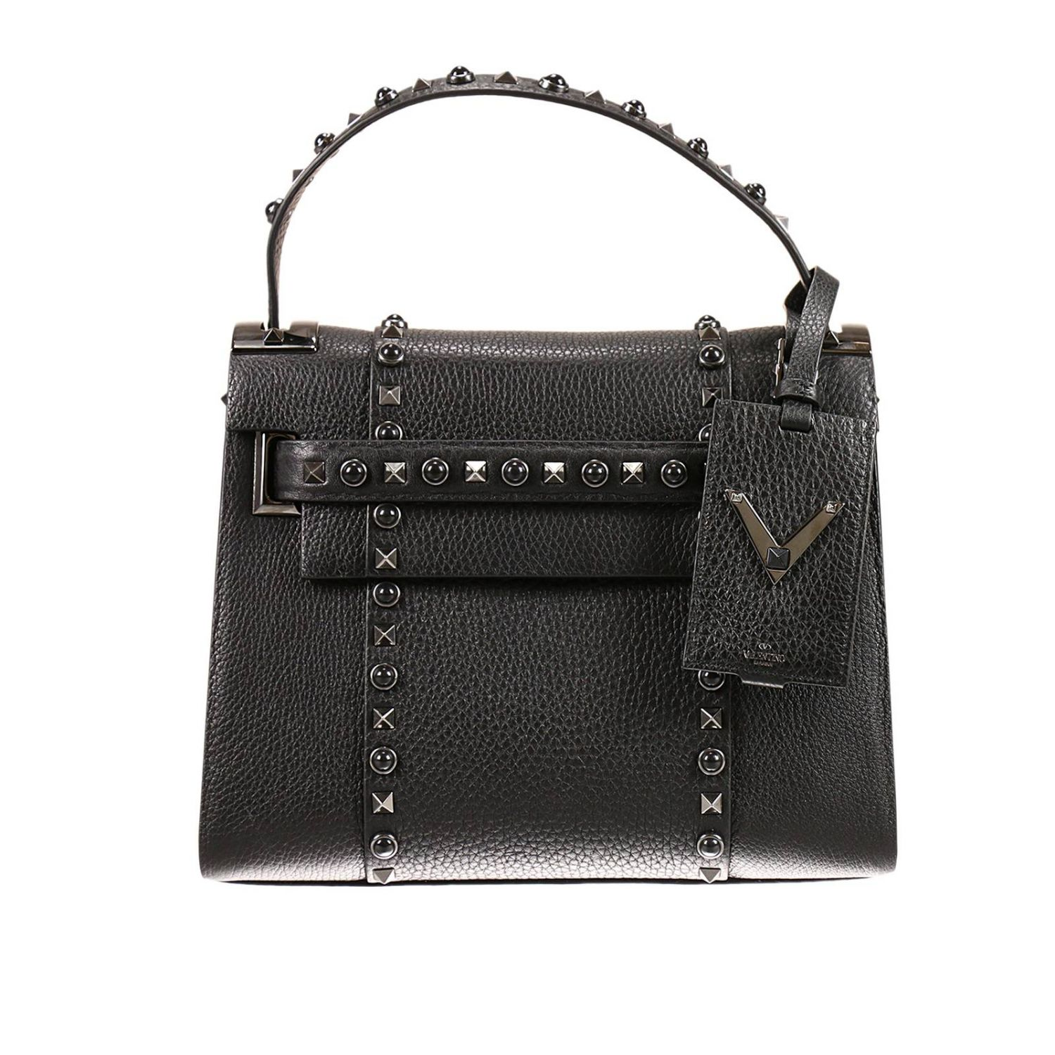 Tote Bags My Rockstud 1 Handle In Hammered Leather Bag With Studs And Stones 8109080