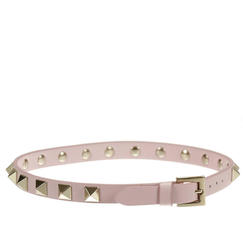 Jewel Valentino Garavani: Rockstud double bracelet in leather with metal studs pink 1