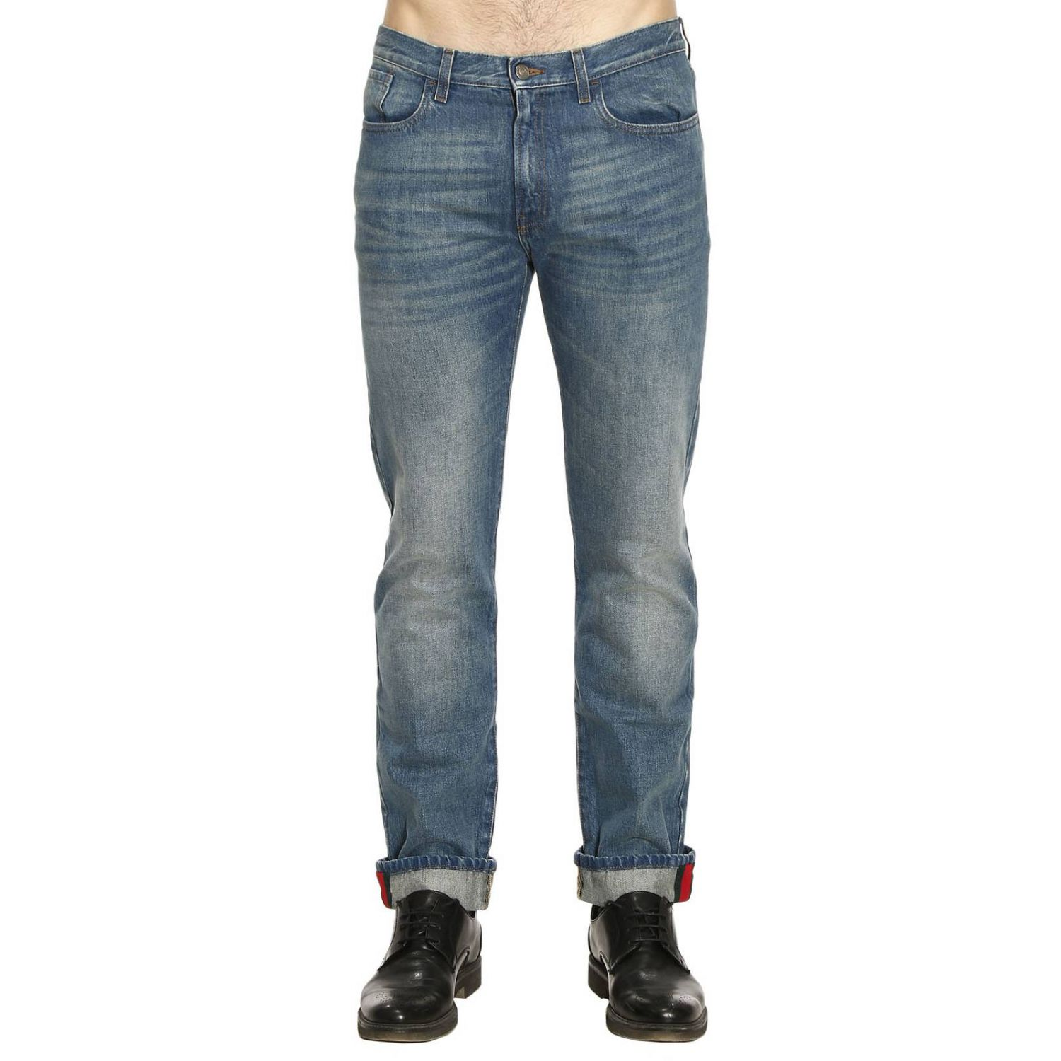 Jeans Straight Regular Fit Jeans With Cuff And Web Detail 8231347