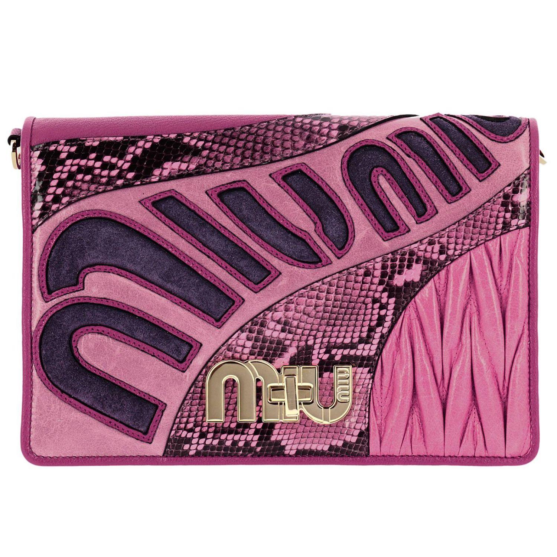 Borsa mini Miu Miu: Pochette grande in madras con stampa pitone e maxi chiusura logo a girello rosa 1