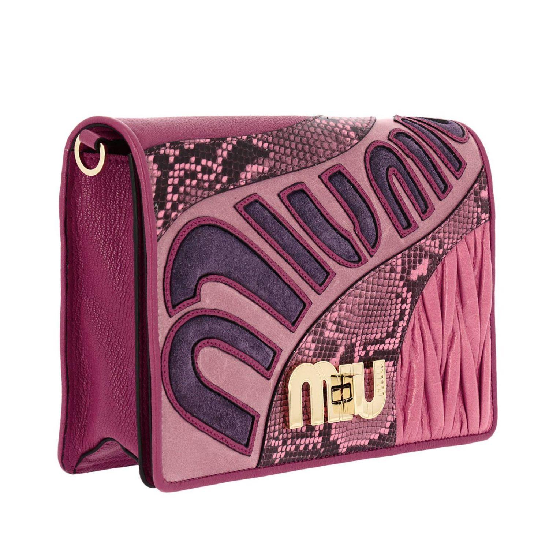 Borsa mini Miu Miu: Pochette grande in madras con stampa pitone e maxi chiusura logo a girello rosa 2