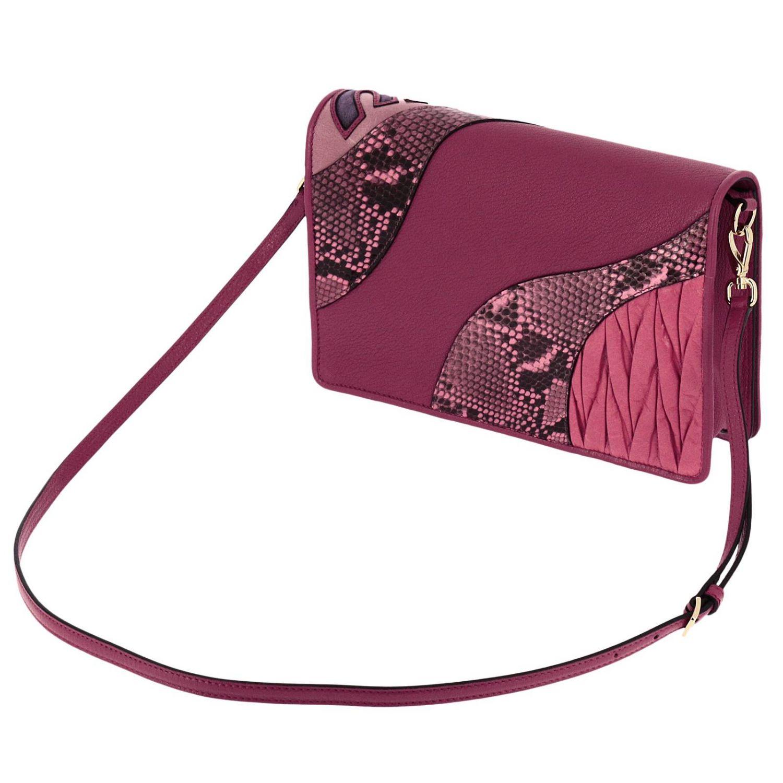 Borsa mini Miu Miu: Pochette grande in madras con stampa pitone e maxi chiusura logo a girello rosa 3