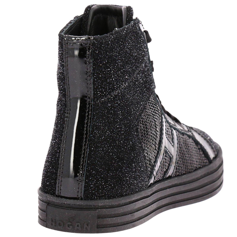 Sneaker Rebel 141 Junior in tessuto glitter e paillettes con maxi H in vernice